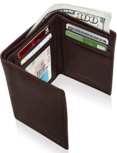 Chocolate Mens Wallets - Genuine Leather Wallets For Men - Trifold Mens Wallet With ID Window RFID Blocking,Dark Chocolate Pebble