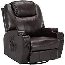 ORKAN Massage Sofa Electric Massage Recliner Massage Chair with Heating System & 360° Swivel Brown Typ1