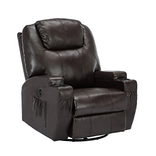 SUNCOO Massage Recliner Bonded Leather Chair Ergonomic Lounge Heated Sofa with Cup Holder 360 Degree Swivel (Power Recliner-Brown-11 IN 1) (Leather Electric Recliner)
