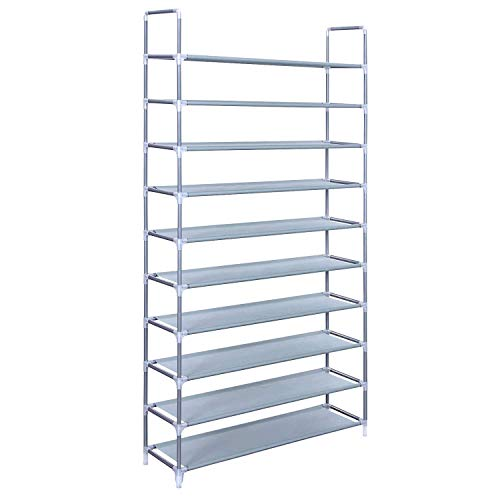 SONGMICS 10 Tiers Shoe Rack 50 Pairs Non-woven Fabric Shoe Tower Storage Organizer Cabinet 39.4 x 11.1 x 68.9 Inches ULSR10G (Closets Shoe Racks For Wall Mounted)