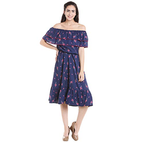 Fusion Beats Women Polyester Blue Off Shoulder Dress