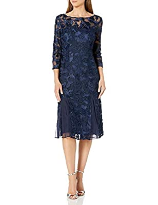 Alex Evenings Women's Tea Length Embroidered Dress with Illusion Sleeves