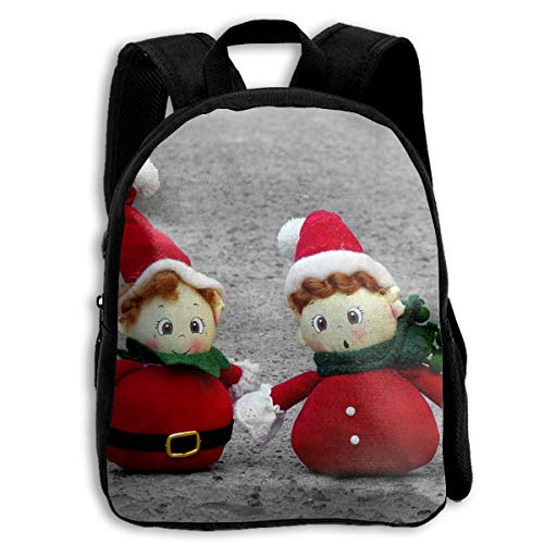 Cute Christmas Little Snowman Couple Children Multi-Function Mini Casual Outdoor Travel Book Middle School Backpack 13 Laptop Computer Bag Pocket -