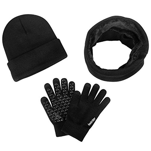 anqier Winter Warm Beanie Hat + Scarf + Touch Screen Knit Gloves 3 Pieces Knitted Set for Men ()