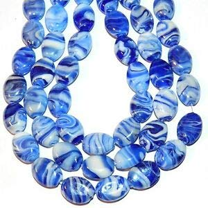 (Steven_store G4128 Sapphire Blue & White Swirl Luster 18mm Oval Pressed Glass Bead 18pc Making Beading Beaded Necklaces Yoga Bracelets )
