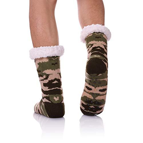 CHOWISH Men's Slipper Socks Winter Thermal Fleece Lining Camouflage Non Slip Stockings (Camouflage 4) (Stocking Chistmas)