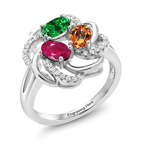 Gem Stone King Build Your Own Ring - Personalized 3 Birthstone Flower Blossom Ring in Rhodium Plated 925 Sterling Silver (Size 7)