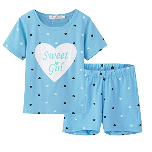 MyFav Big Girls Summer Pajama Set Heart Shape Printed Cute Sleepwear Shorts by MyFav