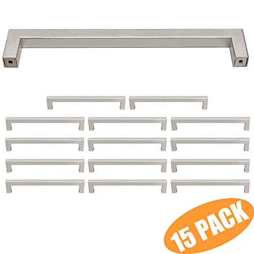 Probrico 15 Pack Cabinet Handles 7-9/16 Inch (192mm) Hole Centers Stainless Steel Square Kitchen Bedroom Drawer Dresser Cupboard Handles and Pulls Brushed Nickel 8