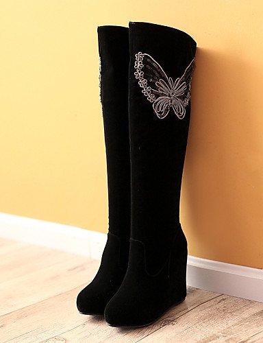 Punta Cn36 Cuñas Black Tacón Mujer Vestido Botas Negro Vellón us6 Eu36 Moda La Redonda Uk4 A De Cuña Xzz Zapatos Plataforma Casual Tq10BBnA