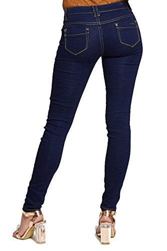 Dark Button Dark Denim One UK Stretch Denim 8 Jeans Divadames Womens 16 Ladies Blue Skinny Jeans Size xnvB5Az