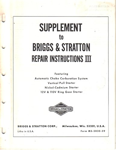 Supplement to Briggs & Stratton Repair Instructions III (3)