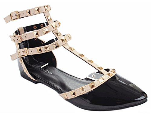 Designer Orange1 Black Patent T-Strap Rivet Studded Ankle Cuff Pointed Toe Dress Flat Shoes-8 ()