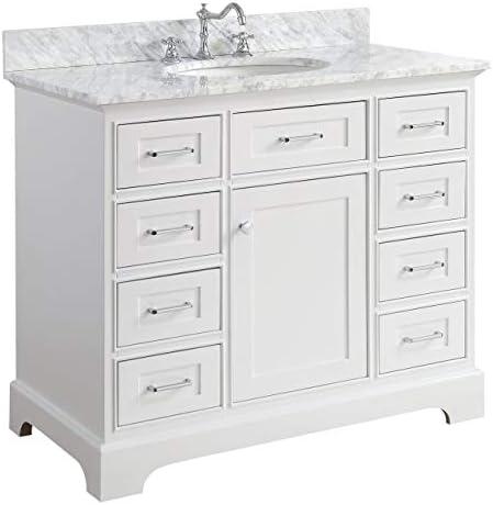 Aria 42-inch Bathroom Vanity Carrara/White : Includes White Cabinet