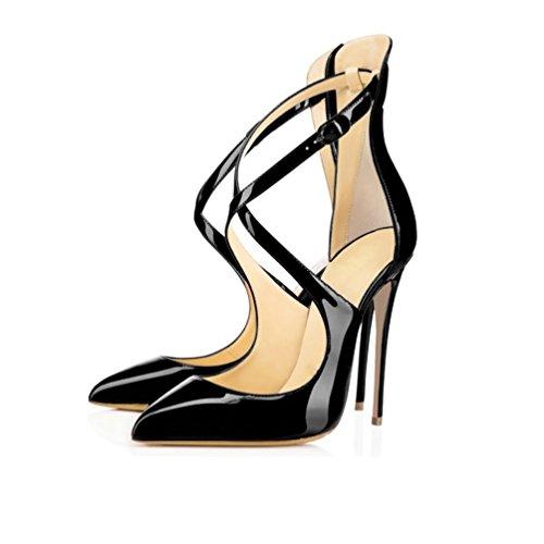 EDEFS Damen Knöchelriemen Pumps High Heels Bequeme Spitze Zehen Lack Stilettos Schuhe Schwarz