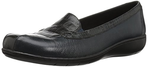(CLARKS Women's Bayou Q Loafer, Navy Leather, 85 XW)