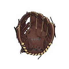 """Wilson new A450 11.5"""" glove is inspired by the new 1787 infield glove, and comes in dark brown and blonde leather with an h-web. Wilson A450 Series is lightweight, flexible and durable for young ball players everywhere. All the gloves in this..."""