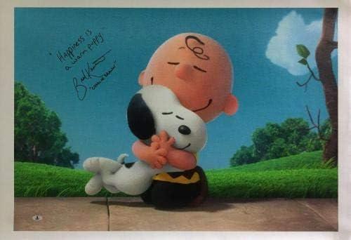 Brad Kesten Signed Peanuts 22x32 Canvas//PhotoCharlie Brown//Free Hugs BAS Beckett Authentication