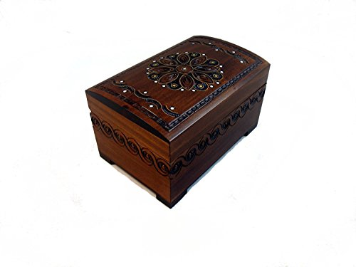 Large Polish Wooden Chest Handmade Floral Jewelry Keepsake Box with Lock and Key