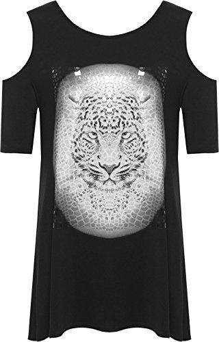 Nuevo para mujer Cut Out hombro leopardo de manga corta camiseta Top negro