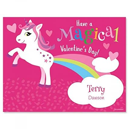 amazon com personalized unicorn valentines set of 24 4 1 4 x 5