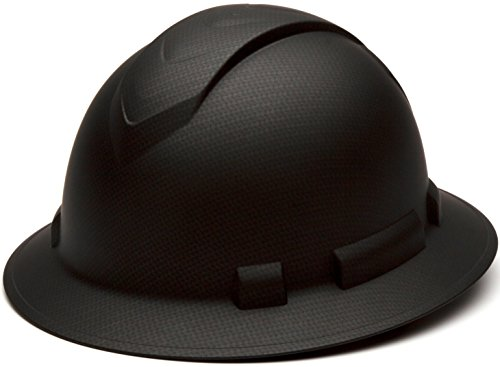 Pyramex Ridgeline Full Brim Hard Hat, 4-Point Ratchet Suspension, Matte Black Graphite Pattern