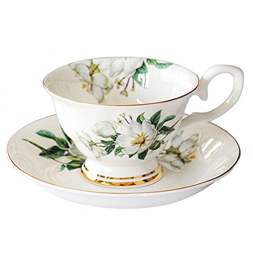 Lautechco European Style Porcelain Tea Cup Set with Saucer Floral Vintage Cups Set 200ml/6.7FL.OZ (Green)