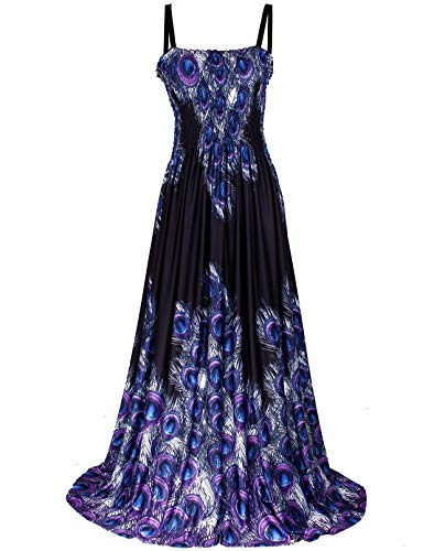Black Maxi Dress Women Plus Size Floral Wedding Guest Beach Party Hawaiian Long (5X(Length 58 inches), Black/Blue Peacock)