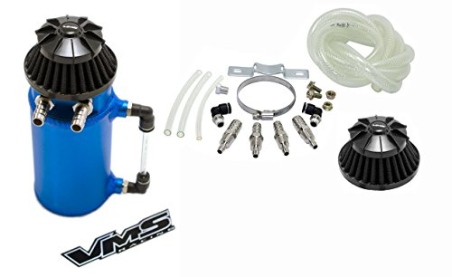 Price comparison product image VMS Racing Universal Matte BLUE Aluminum OIL Reservoir CATCH CAN Canister Tank with Breather (Complete Kit)