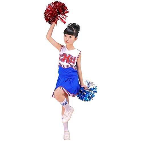 Girls Red & Blue Cheerleader Outfit + Poms fits 3-15Yrs Clothes Dress (8-9 Years, (Girls Youth Cheerleader Outfit)
