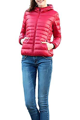 Abrigos Mujer Con Plumas Otoño Invierno Fino Acolchados Elegante Manga Larga Con Cremallera Slim Fit Fashion Casual Outdoor Ropa De Abrigo Chaquetas Chaqueta De Plumas Outerwear Coat Rojo