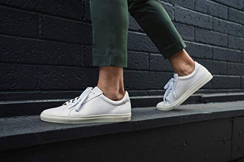 Dunross & Sons Harvey Men's Fashion Sneakers. Lightweight Breathable Casual Leather Low Top Crafted with Genuine Leather Upper, Mesh Lining, Cushioned Insole, and Durable Rubber Cupsole.