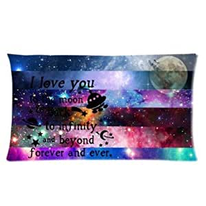 I Love You To The Moon And Back Again To Infinity And Beyond Forever And Ever Color Galaxy Nebula Glitter Stars Moon Custom Cotton & Polyester Soft Rectangle Zippered Pillow Case Cover 16x24 (Two Sides) FFFFw321 by runtopwell