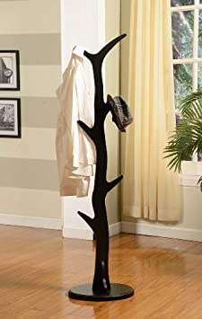 King s Brand Furniture – Wood Hall Tree Coat Rack Stand, Black Finish
