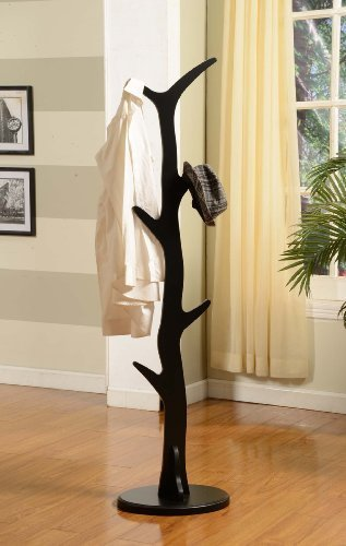 - King's Brand Furniture - Wood Hall Tree Coat Rack Stand, Black Finish