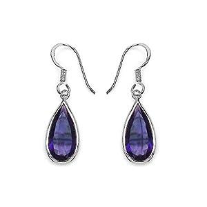 Amethyst .925 Sterling Silver Teardrop Earrings for Women 10.10ctw. from Johareez