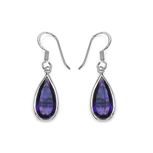 Johareez Pear Shape Amethyst Drop Earrings in Sterling Silver