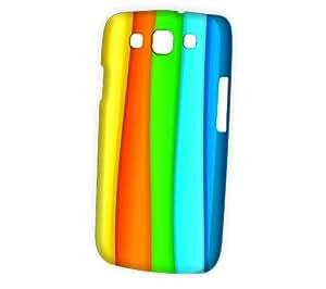 Case Fun Samsung Galaxy S3 (I9300) Case - Vogue Version - 3D Full Wrap - Rainbow Stripes Style 2