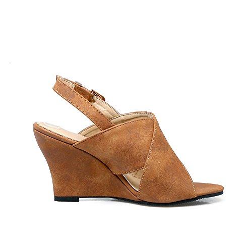 Cour Brune Ouvert Peep Dos À Boucle Toe Talons Chaussures Sandales Dames Daim Cuir En Fereshte De Femmes Coin En La 4FqHwUxx1