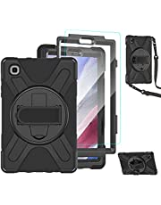 TSQ Samsung Galaxy Tab A7 Lite Case 8.7 Inch 2021 SM-T220/T225 with Glass Screen Protector | Galaxy Tab A7 Lite Case for Kids Protective Case Cover w/ Stand Strap for Samsung A7 Lite Tablet | Black