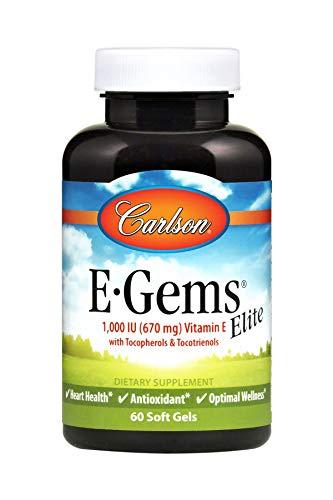 E-gems Elite Natural Vitamin - Carlson - E-Gems Elite, 1000 IU Vitamin E with Tocopherols & Tocotrienols, Heart Health & Optimal Wellness, Antioxidant, 60 Soft gels