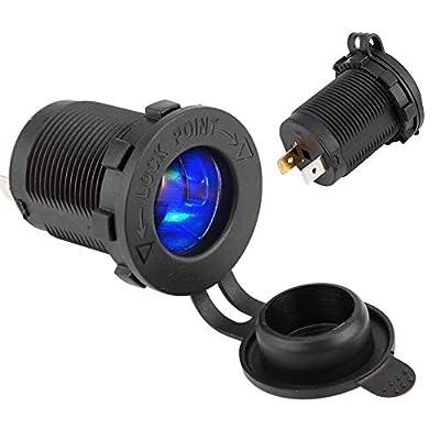 KIMISS DC12V-24V Cigarette Lighter Power Plug Socket Outlet with Blue LED Waterproofing for Car Motorcycle Boat: Automotive
