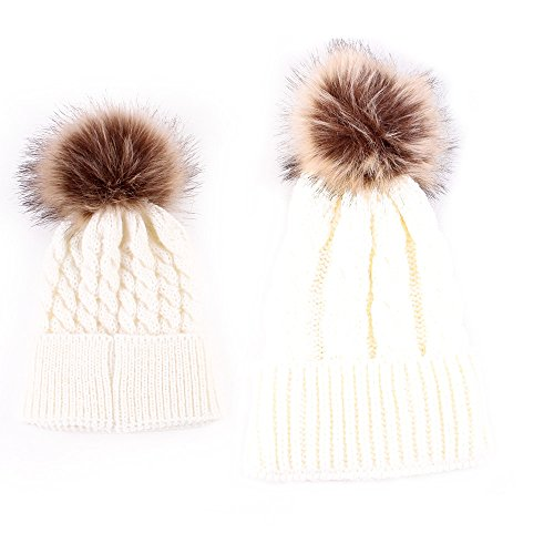 - Love Sweety Mom and Baby Knitting Fur Hat Winter Warm Cap (White)