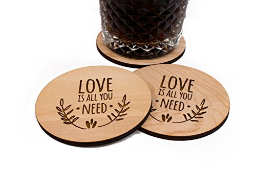 "Unfinished Wedding Coasters - Love Is All You Need - 4 3.5"" Round Engraved Birch Wood Table Decor"