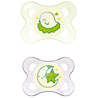 MAM Glow in the Dark Night Orthodontic Pacifier, Unisex, 0-6 Months, 2-Count