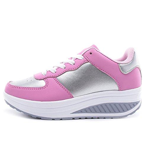 Cybling Utomhus Kvinnor Motion Sportpromenadskor För Sport Fitness Löpande Kil Sneakers Rosa
