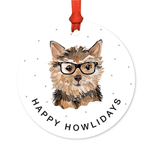(Andaz Press Preppy Dog Art Round Metal Christmas Ornament, Small Norfolk Terrier in Black Glasses, 1-Pack, Birthday Ideas for Him Her Dog Lover, Includes Ribbon and Gift Bag)