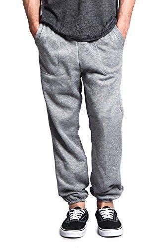 Elastic Cuff Pants (G-Style USA Men's Elastic Cuff Fleece Sweatpants - HILLSP - GREY - 2X-Large - GG1H)