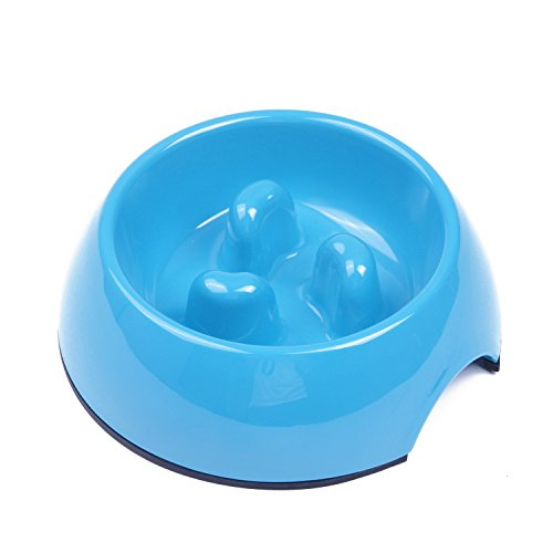 SuperDesign Three Columns Style Melamine Non-skid Slow Feed Bowl, For Dog and Cat, Small, Blue