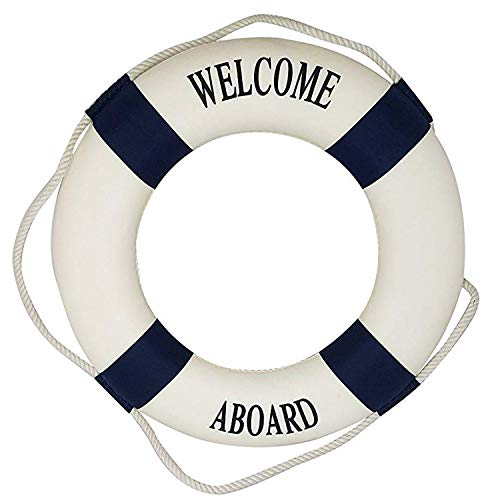 Royal Brands Welcome Aboard - Nautical Decorative Life Ring Buoy - Home Wall Decor - Nautical Decor - Decorative Life Ring Preserver (20x3.5x20) ()